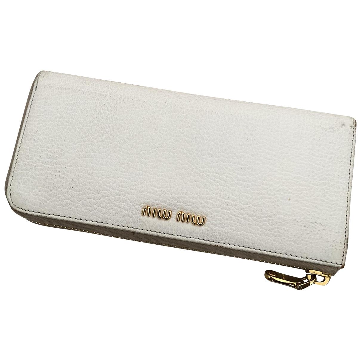 Miu Miu - Portefeuille   pour femme en cuir - blanc