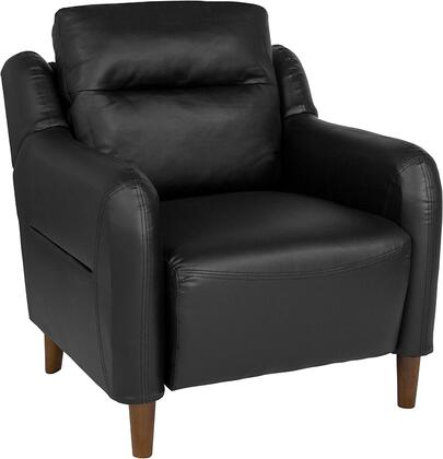 BT-S8372A-CH-BK-GG Newton Hill Upholstered Bustle Back Arm Chair in Black