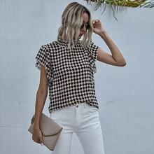 Checkerboard Print Shirred Neck Blouse