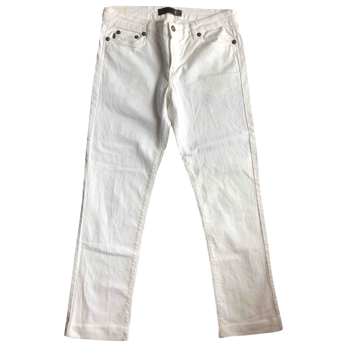 Just Cavalli \N White Cotton Trousers for Women 46 IT