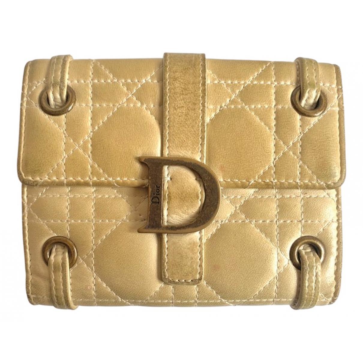 Dior - Portefeuille   pour femme en cuir - beige