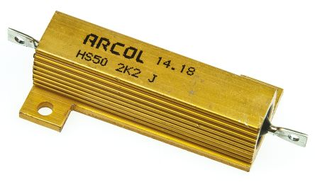Arcol HS50 Series Aluminium Housed Axial Wire Wound Panel Mount Resistor, 2.2kΩ ±5% 50W (20)
