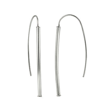 Sterling Silver Tube Drop Earrings, One Size , No Color Family