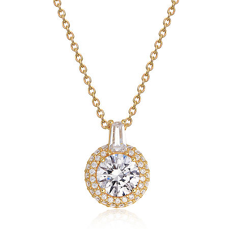 Womens 2 CT. T.W. Cubic Zirconia 18K Gold Over Silver Round Pendant Necklace, One Size , No Color Family
