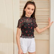 Girls Lettuce Edge Cherry Mesh Top With Cami