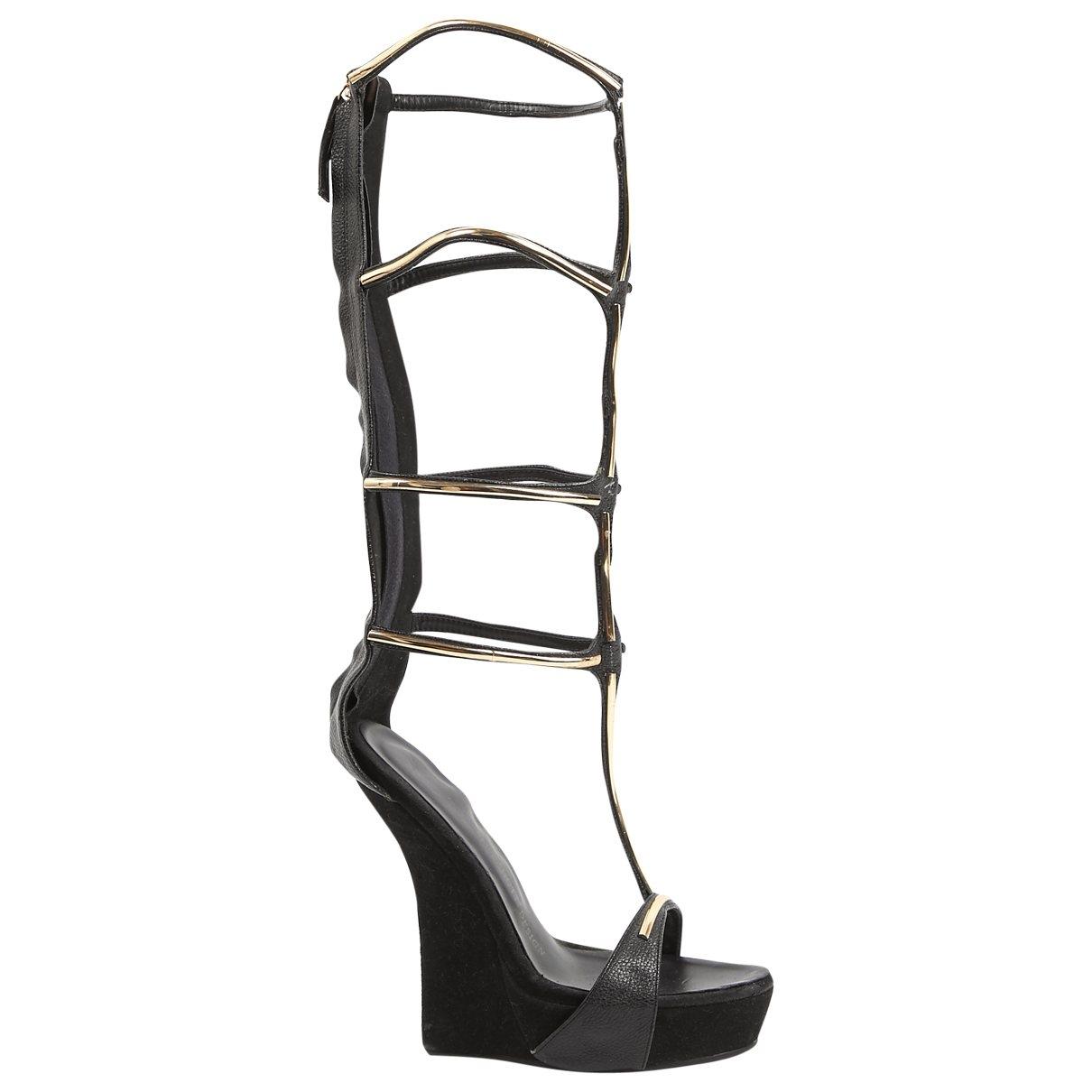 Giuseppe Zanotti \N Black Leather Sandals for Women 39 EU