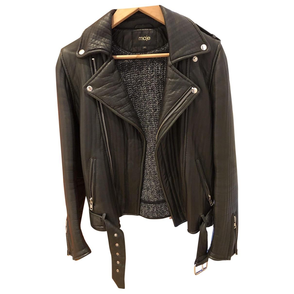 Maje \N Black Leather Leather jacket for Women 40 FR