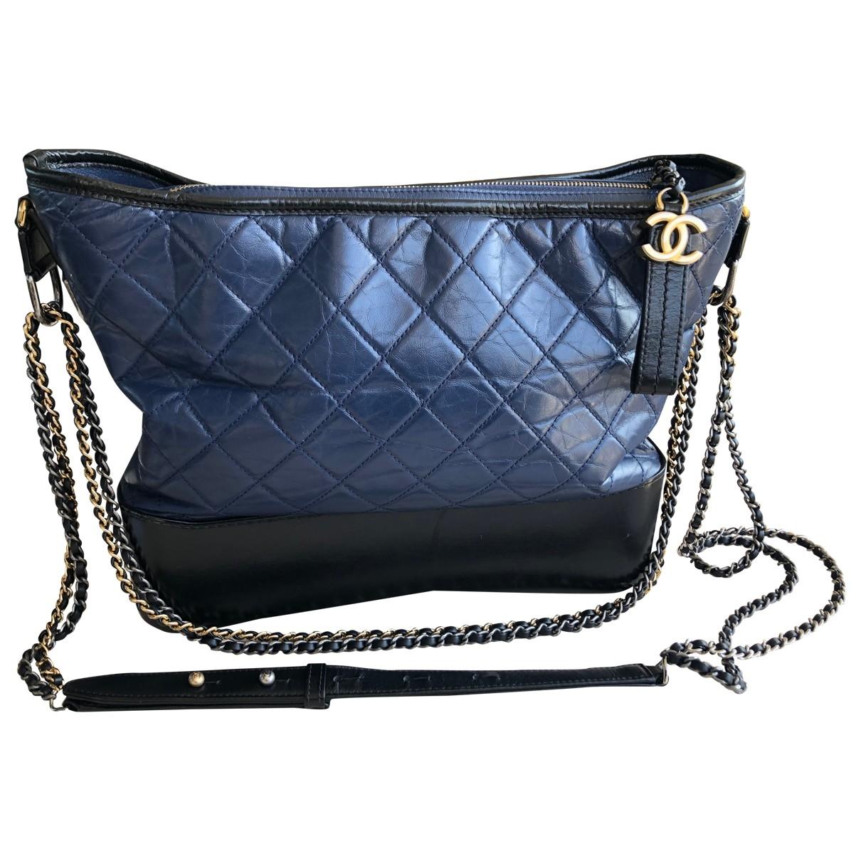 Chanel - Sac a main Gabrielle pour femme en cuir - bleu