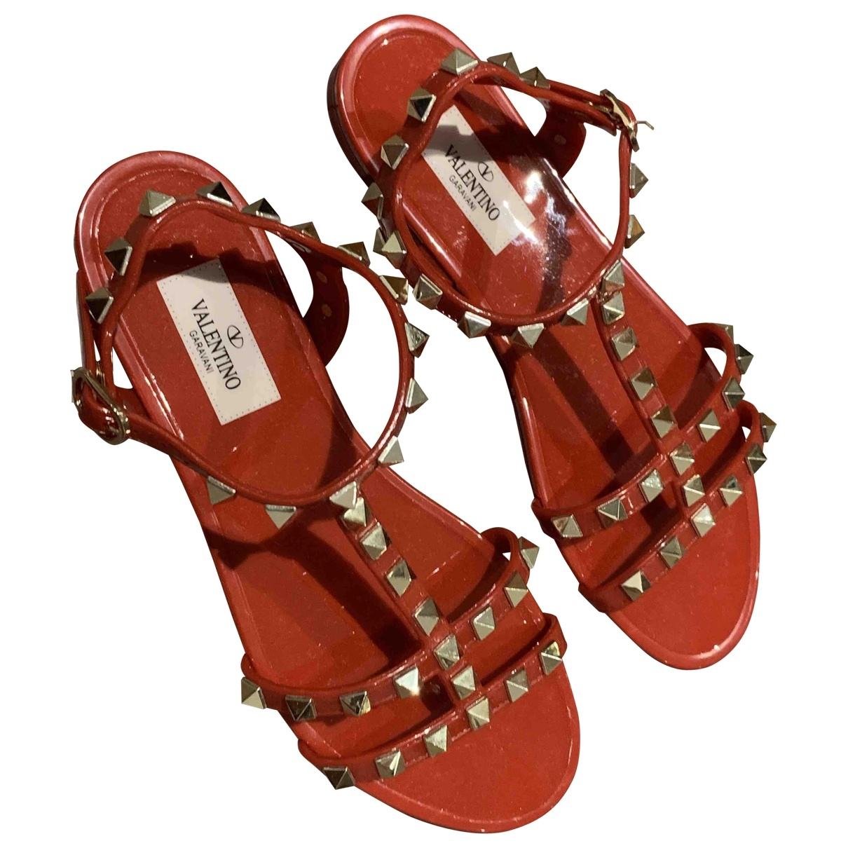 Valentino Garavani Rockstud Red Leather Sandals for Women 36 EU