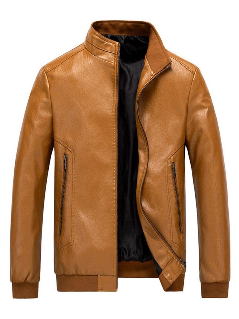 Ericdress Zipper Plain Stand Collar Men's Loose Jacket
