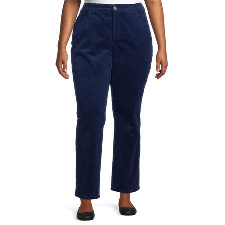 St. John's Bay Womens Mid Rise Straight Corduroy Pant - Plus, 18w , Blue