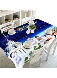 3D Happy Lovely Snowman and Their Castle Printed Table Runner Cloth Cover