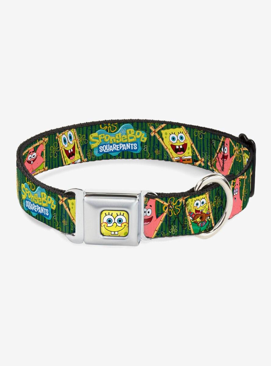 Spongebob Squarepants Patrick Starfish Bamboo Frames Logo Dog Collar Seatbelt Buckle