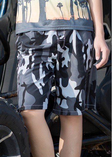 Men's Bermuda Shorts Men's Quick Dry Swim Trunks With Mesh Lining Camouflage Print Beach Shorts - 3XL