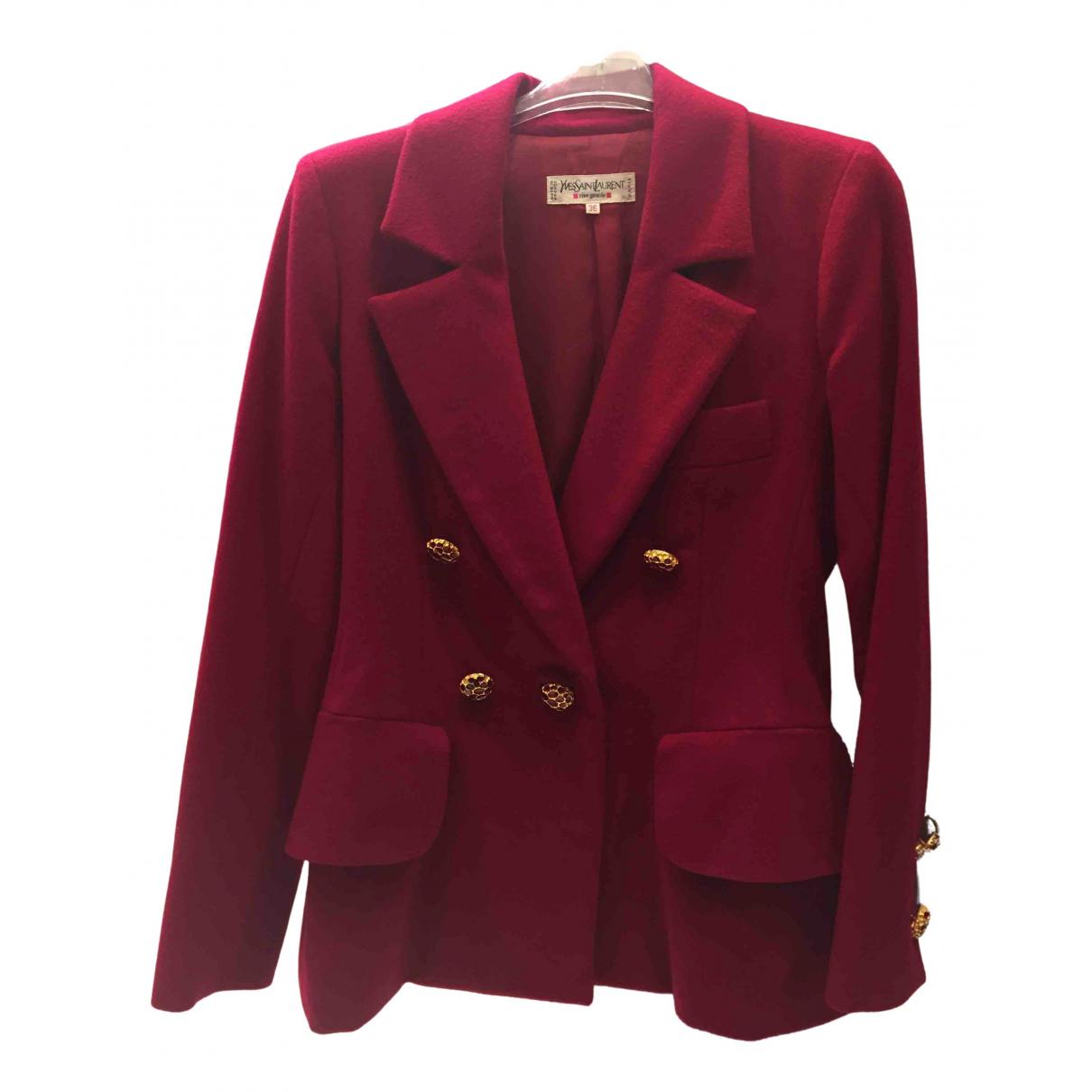 Yves Saint Laurent - Veste   pour femme en laine - bordeaux