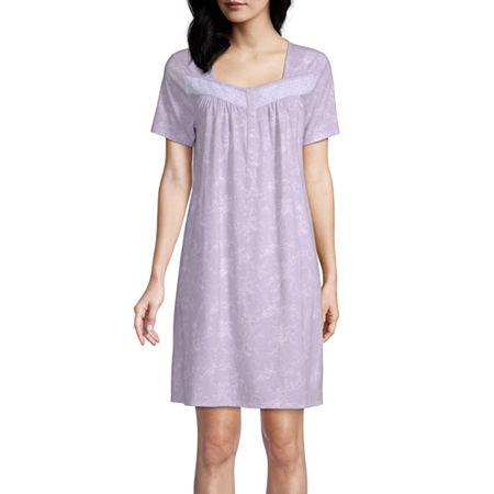 Adonna Womens Short Sleeve Square Neck Nightgown, Medium , Purple