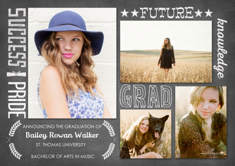 Graduation Announcements Flat Matte Photo Paper Cards with Envelopes, 5x7, Card & Stationery -Inspiring Grad Words