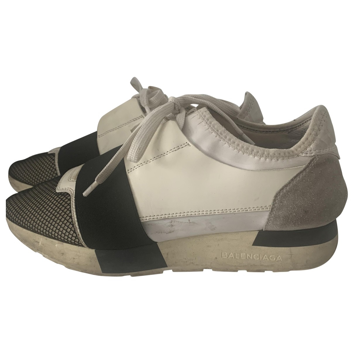 Balenciaga Race Beige Leather Trainers for Women 38 EU