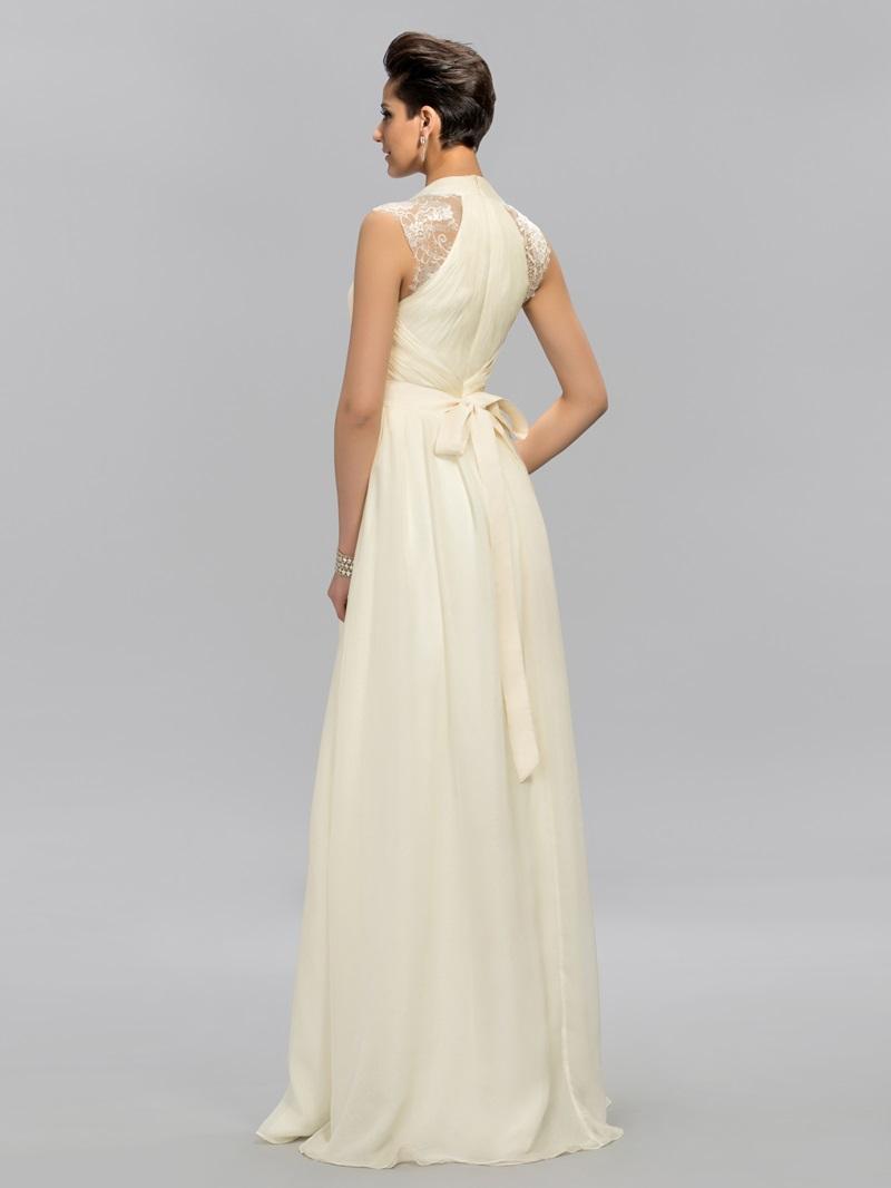 Stylish Deep V-Neck Lace Crystal Floor-Length Evening Dress