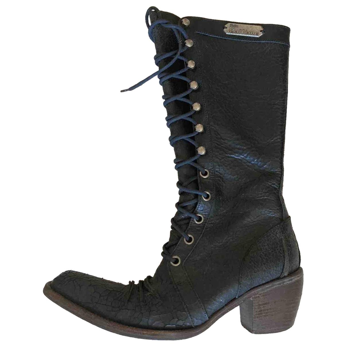 John Galliano - Bottes   pour femme en cuir - noir