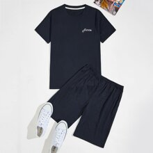 Guys Letter Graphic Tee With Shorts PJ Set