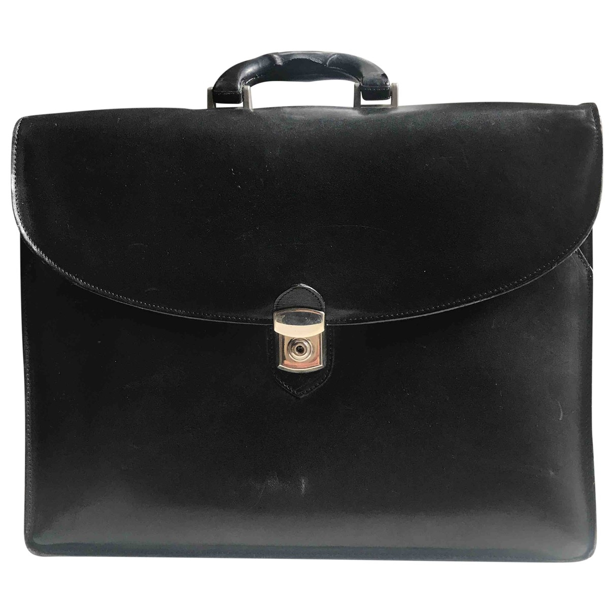 Non Signé / Unsigned \N Black Leather bag for Men \N