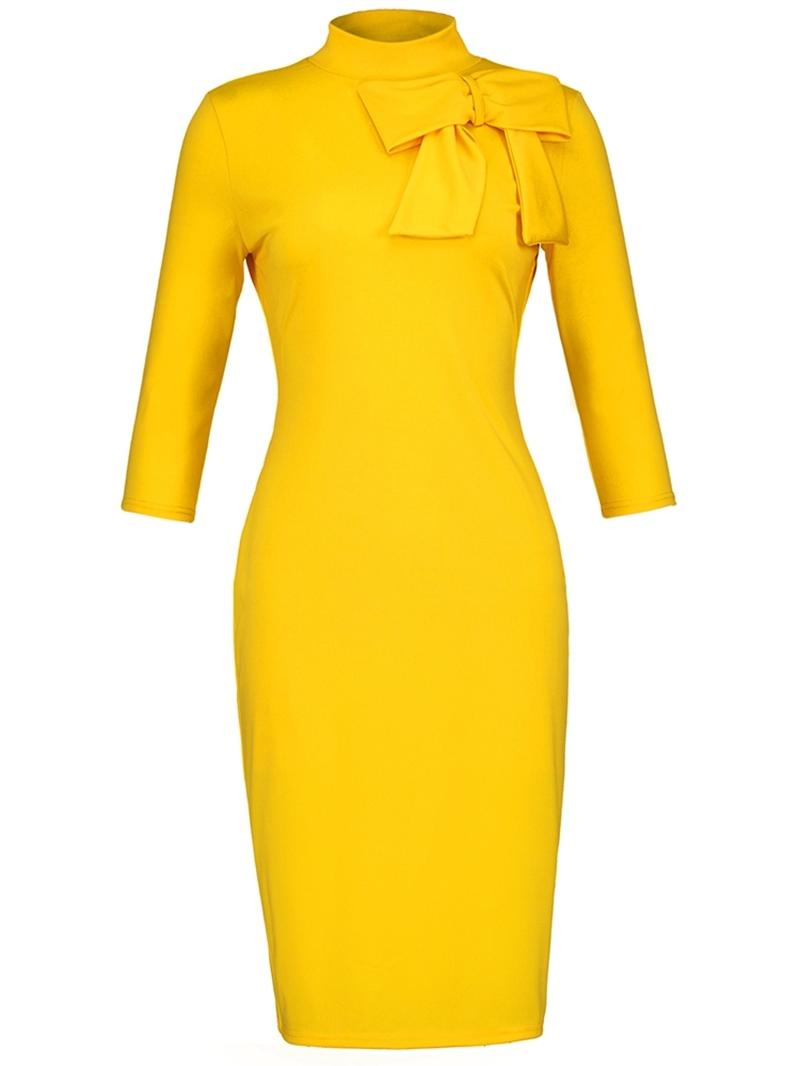 Ericdress Yellow Stand Collar Bowknot Women's Sheath Dress