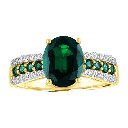 Womens Lab Created Green Emerald 10K Gold Cocktail Ring, 7 , No Color Family