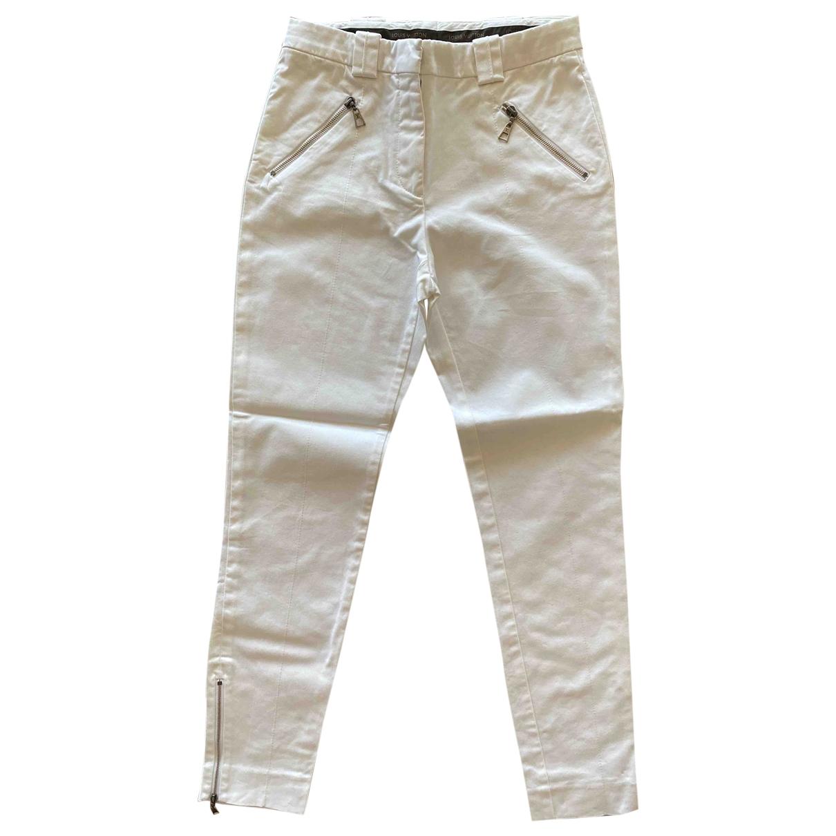 Louis Vuitton \N White Cotton Trousers for Women 36 FR