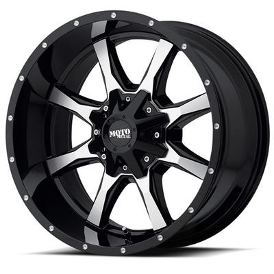 MO970, 17x8 Wheel with 5 on 4.5 and 5 on 5 Bolt Pattern - Gloss Black with Machined Face - MO97078054340