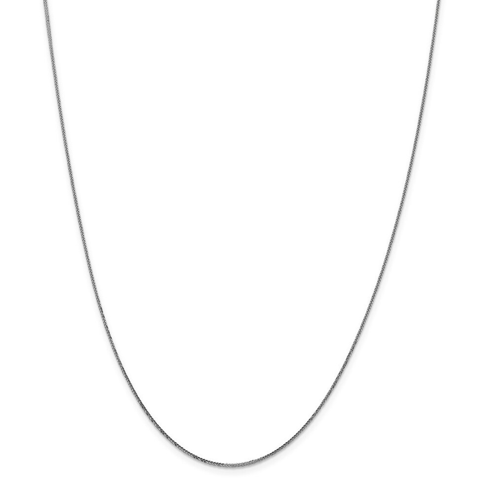 Curata 14k White Gold 0.8mm Diaomnd Cut Quadra Wheat Chain Necklace (Lobster) Options:  16 18 20 22 24 (24 Inch)