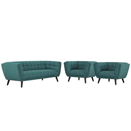 Bestow Collection EEI-2977-TEA-SET 3 PC Sofa and Armchairs Set with Dense Foam Padding  Non-Marking Foot Caps  Black Tapered Wood Legs and Polyester