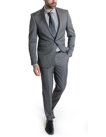 Mens Ticket pocket suit 1 button Slim Fit Gray Suits