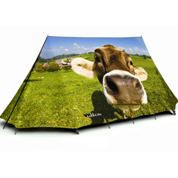 3-Person Cute Cow Quick-Set up 3D Printed Outdoor Tent Waterproof Camping Tent