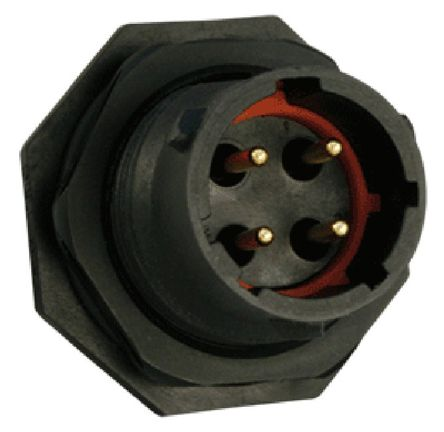 Souriau Circular Connector, 4 contacts Cable Mount Socket, Quick Connect IP68, IP69K