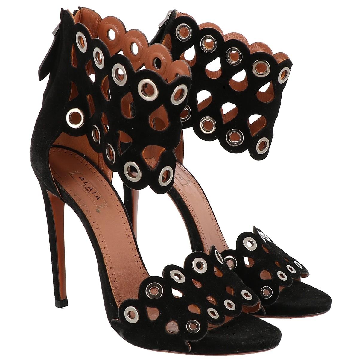 Alaia - Sandales   pour femme en suede - noir