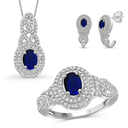 Diamond Accent Genuine Blue Sapphire Sterling Silver 3-pc. Jewelry Set, 8 , Beige