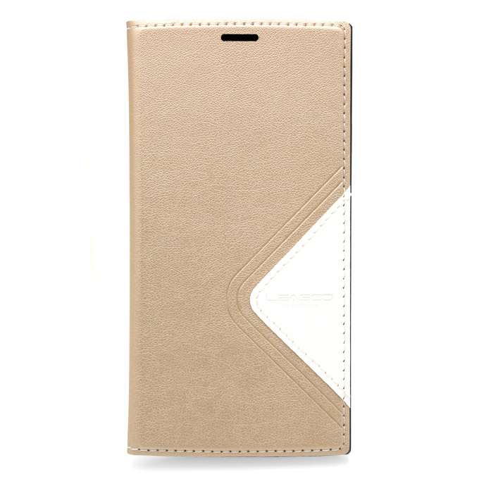 Flip Cover Protective Case with Back Shell for LEAGOO ALFA 5 - Gold