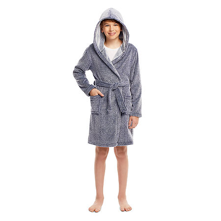 Jelli Fish Kids Little & Big Boys Plush Long Sleeve Mid Length Robe, Small , Blue