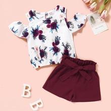 Kleinkind Maedchen Schulterfreies T-Shirt mit Blumen Muster & Shorts mit Guertel