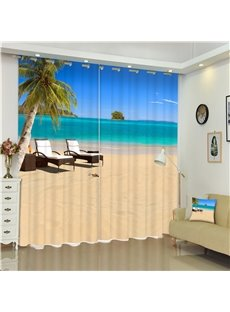 3D Beach and Leisure Chairs Printed Beautiful Sea Scenery 2 Panels Shading Curtain