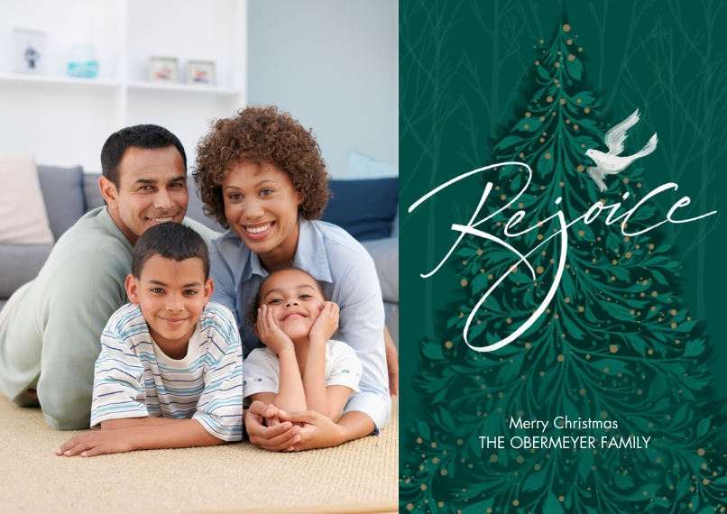Christmas Photo Cards 5x7 Cards, Premium Cardstock 120lb with Rounded Corners, Card & Stationery -Rejoice Christmas Wishes Photo Card by Hallmark