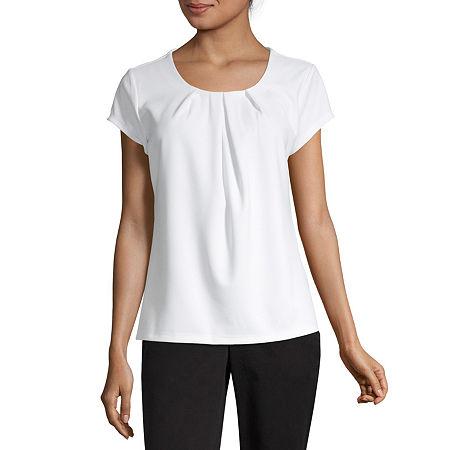 Liz Claiborne Short Sleeve Texture Tee-Tall, Large Tall , White