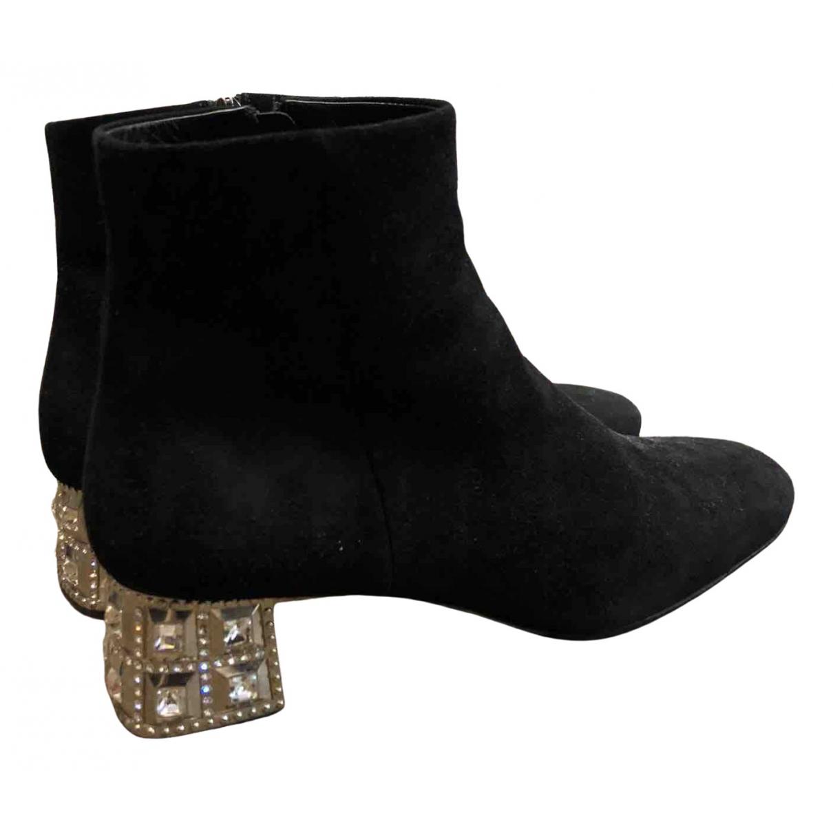 Miu Miu \N Black Suede Ankle boots for Women 38.5 EU