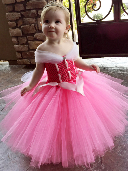 Milanoo Flower Girl Dresses Sleeping Beauty Square Neck Polyester Sleeveless Tea Length A Line Pleated Formal Kids Pageant Dresses