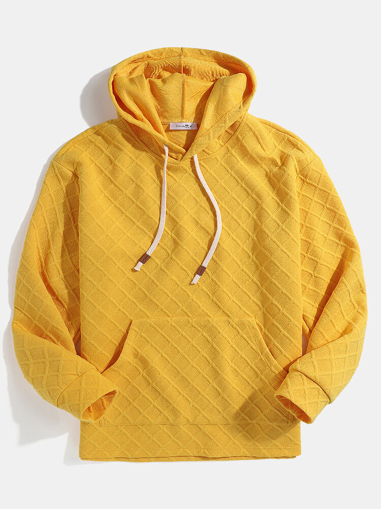 Mens Waffle Textured Solid Pouch Pocket Loose Drawstring Hoodies