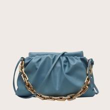 Chain Handle Ruched Shoulder Bag