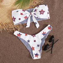 American Flag Print Knot Front Bandeau Bikini Swimsuit