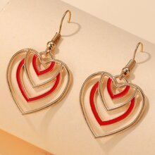 Two Tone Heart Drop Earrings