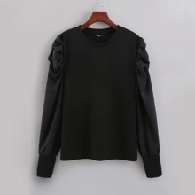 Plus Ruched Sleeve Solid Tee